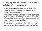 do payday loans increase consumers well being continued
