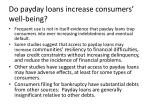 do payday loans increase consumers well being