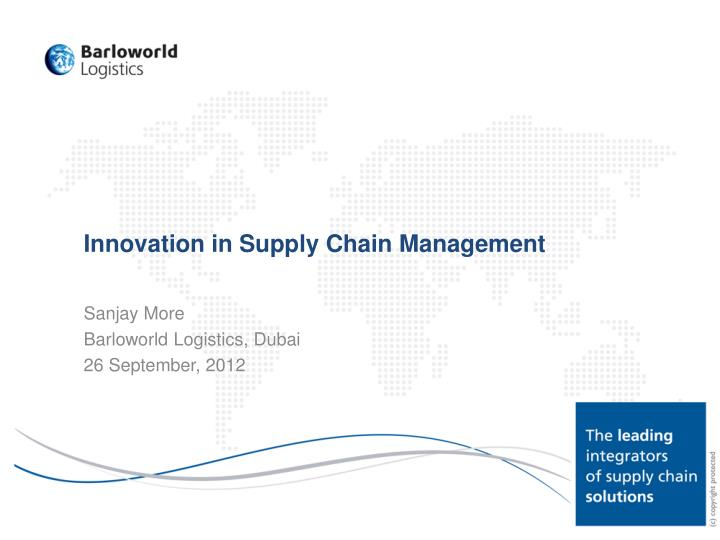 innovation in supply chain management n.