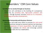waveriders csr core values