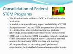 consolidation of federal stem programs