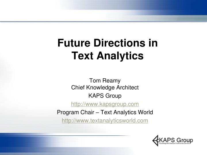 future directions in text analytics n.