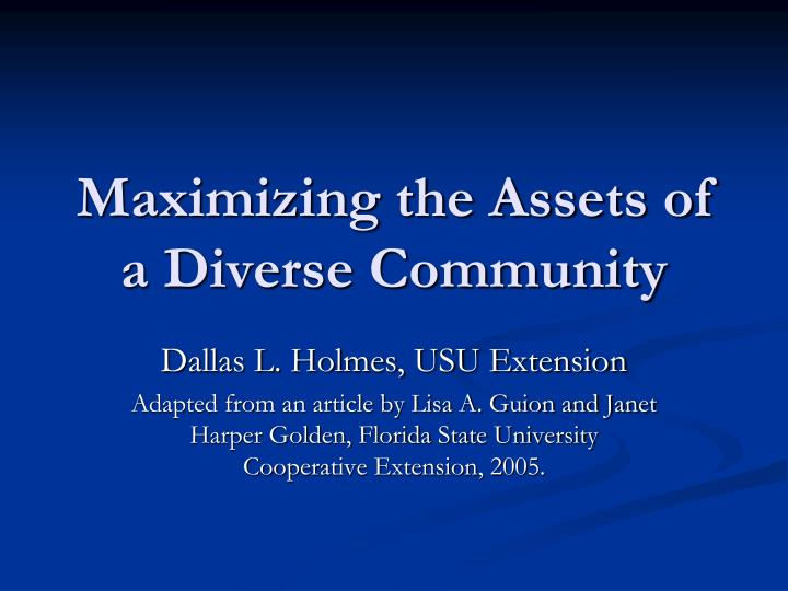 maximizing the assets of a diverse community n.