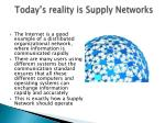 today s reality is supply networks