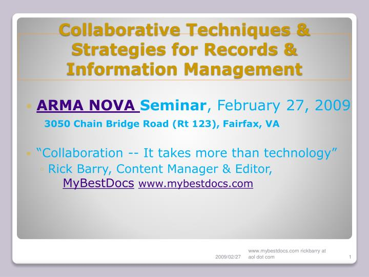 collaborative techniques strategies for records information management n.