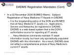 dadms registration mandates cont