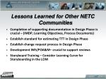 lessons learned for other netc communities