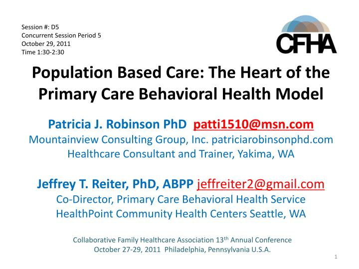 population based care the heart of the primary care behavioral health model n.