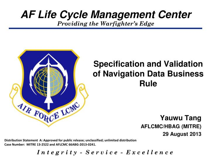 specification and validation of navigation data business rule n.