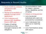 requests in recent audits