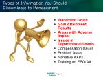 types of information you should disseminate to management