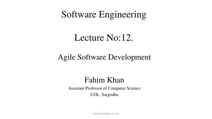 software engineering lecture no 12 lecture 7 n.
