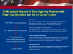 anticipated impact at one agency represents potential benefits for all of government