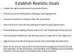 establish realistic goals