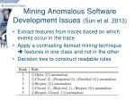 mining anomalous software development issues sun et al 2013