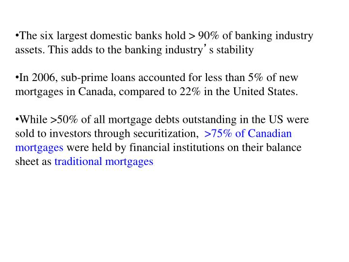 The six largest domestic banks hold > 90% of banking industry assets. This adds to the banking industry