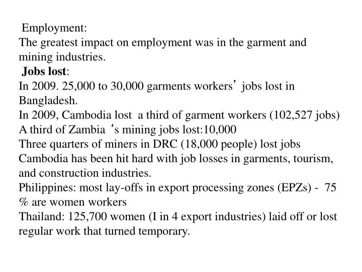 Employment: