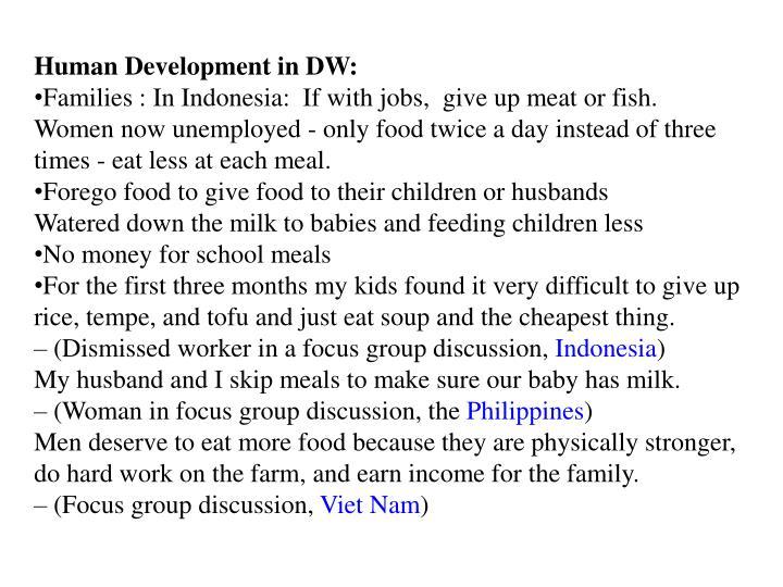 Human Development in DW: