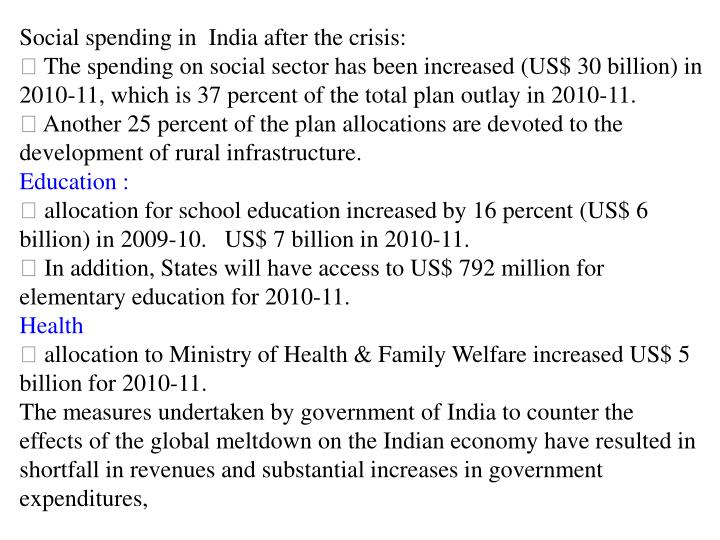 Social spending in  India after the crisis: