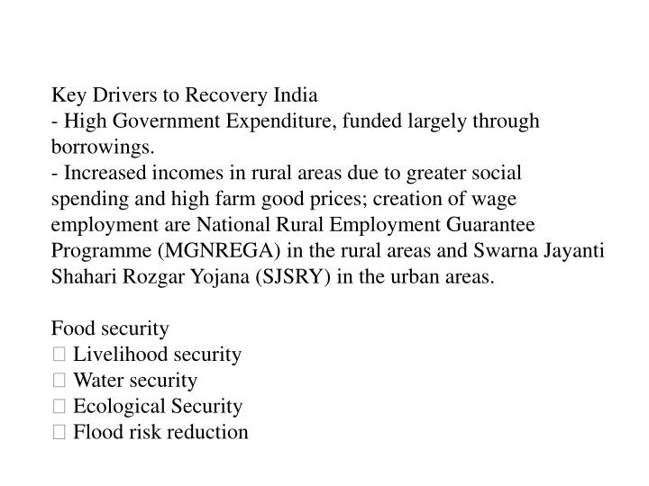Key Drivers to Recovery