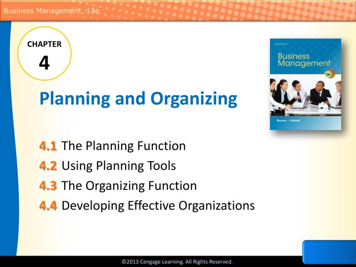 planning and organizing n.