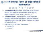 nominal form of algorithmic estimation