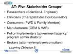 at five stakeholder groups