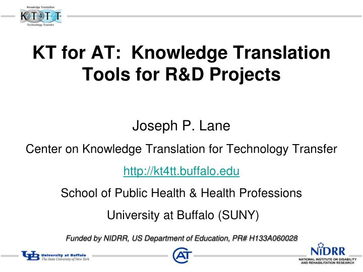 kt for at knowledge translation tools for r d projects n.
