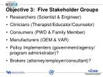 objective 3 five stakeholder groups