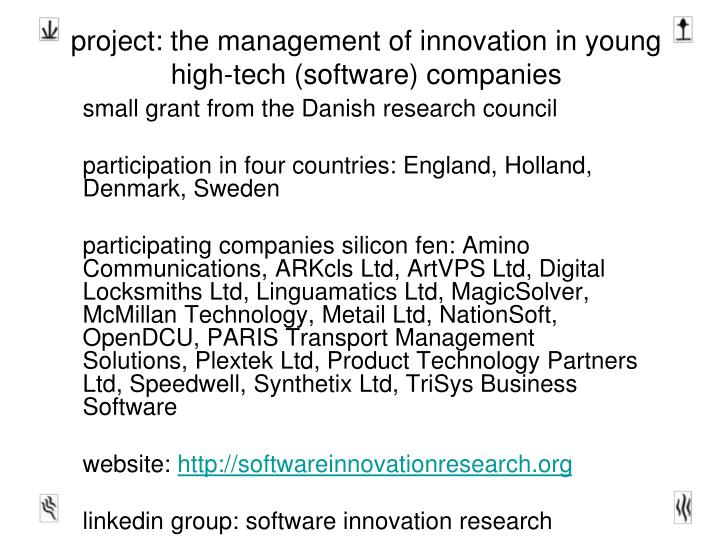 project the management of innovation in young high tech software companies n.