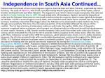 independence in south asia continued