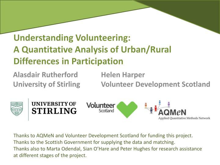 understanding volunteering a quantitative analysis of urban rural differences in participation n.