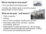 who is moving to rural areas