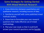 some strategies for getting started with mixed methods research