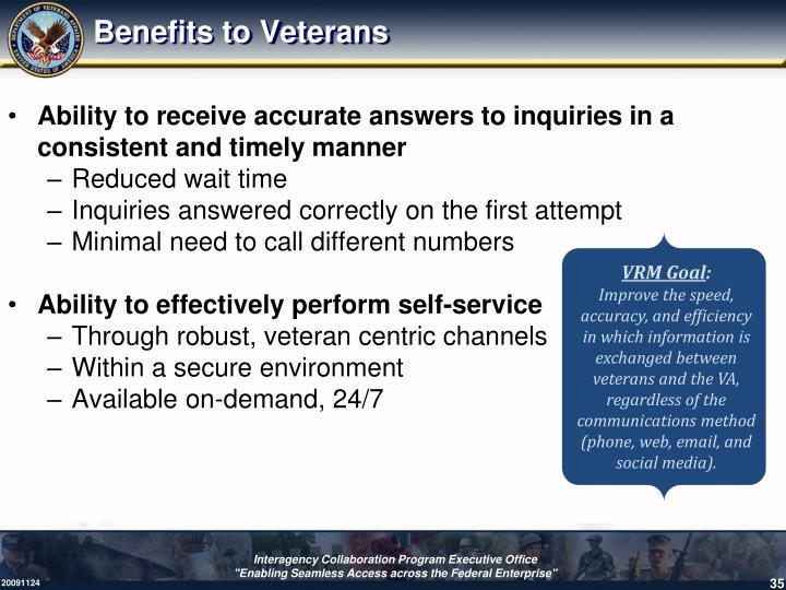 Benefits to Veterans