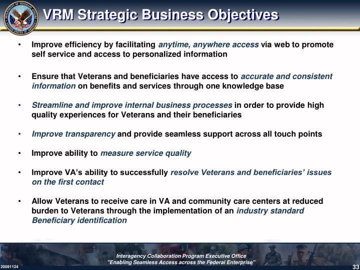VRM Strategic Business Objectives