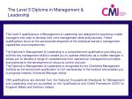 the level 5 diploma in management leadership