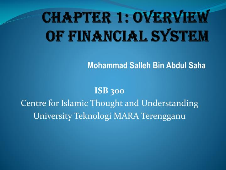 chapter 1 overview of financial system n.