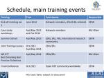 schedule main training events