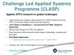 challenge led applied systems programme clasp