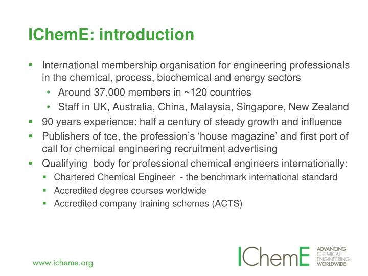 IChemE: introduction