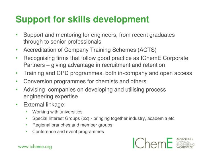 Support for skills development