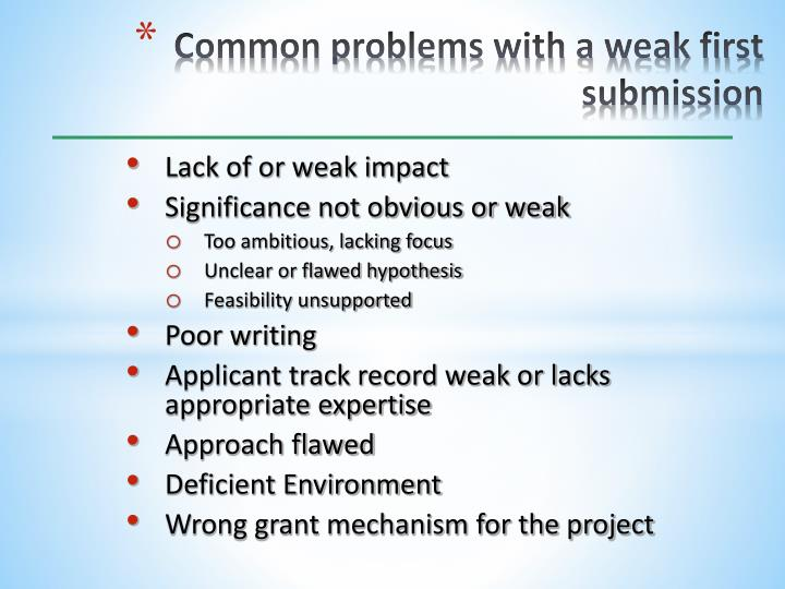 Common problems with a weak first submission