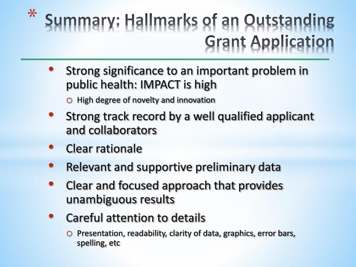 Summary: Hallmarks of an Outstanding Grant