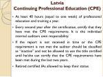 latvia continuing professional education cpe