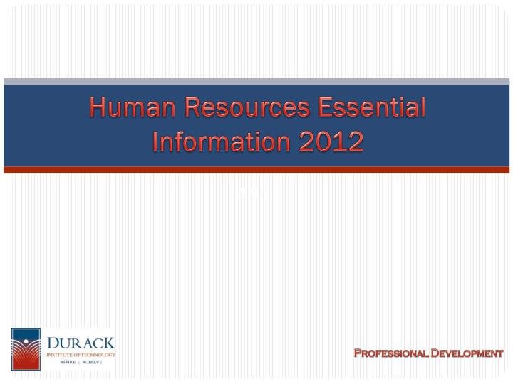 human resources essential information 2012 n.