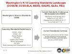 washington s k 12 learning standards landscape ccss m ccss ela ngss ealrs gles pes