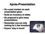 apr s presentation