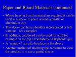 paper and board materials continued