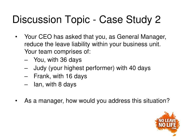 Discussion Topic - Case Study 2